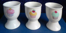 Set of 4 cupcakes cup cakes ceramic eggcups egg cups in acetate box 3 colours