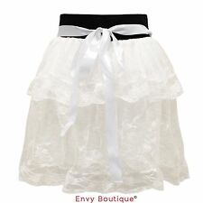 WOMENS LADIES LACE MESH LOLITA DANCING LAYERED TUTU GIRLS PETTICOAT MINI SKIRT