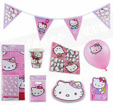 Girls Hello Kitty Birthday Party Kit for 8 or 16 Pink Tableware Plates Cups