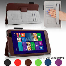 For Dell Venue 8 Pro Windows Tablet PU Leather Folio Stand Case Cover Hand Strap