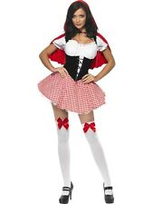 ADULT WOMENS FEVER RED RIDING HOOD COSTUME SMIFFYS SEXY FANCY DRESS - 3 SIZES