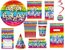 Funky Rainbow Birthday Party Tableware Decorations Cups Plates Hats Banners