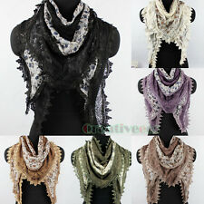 Fashion Women's Floral Lace Trim Hollow Out Stitching Triangle Scarf Shawl Wrap
