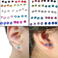 Fashion Lady Boys Clear Multicolor Crystal Earrings 20 Pairs Lots Cool Studs Hot