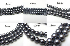 3MM/4MM/6MM/8MM/10MM/12MM Glass Pearl Czech Round Loose Jewelry Beads silver