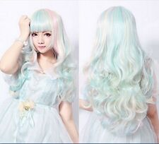 Lolita Harajuku Style Mixed Multi-Color Curly Long Hair Anime Cosplay Wig ZSL007