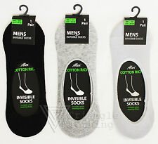 Mens Boys Plain Cotton Rich Invisible Socks Gym Trainers Hidden White Black 6-11
