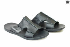Mens 100% Real Leather Black Sandals Beach Slip ons Walking Slippers Open Mules