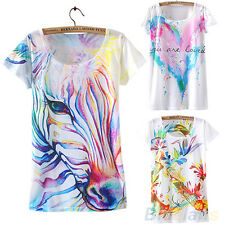 Ladies Graceful Nice Short Sleeve Horse Graphic Printed T Shirt Tee Blouse Tops