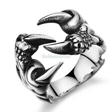 Fashion Cool Punk Dragon Claw Stainless Steel Ring Mens Boys Band Size 7-10 New
