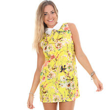 GLAMOROUS WOMEN'S YELLOW BIRD PRINT CONTRAST COLLAR SHIFT DRESS UK RRP £25