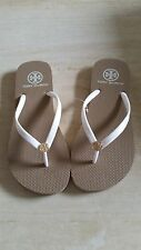 Brand New Tory Burch Khaki and White Thin Flip Flops. Very hard to find!