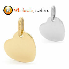 New 375 9ct 9K Solid Yellow White Italian Gold Love Heart Charm Pendant Necklace