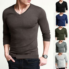 New Mens Slim Fit Long Sleeve V-Neck T-Shirt Cotton Shirts Muscle Tops
