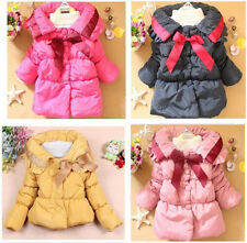 Kids Baby Toddler Girls Bow Knot Winter Hoodies Coats Jacket Top Outwear Jumpers