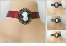 ML10_Vintage Retro Black Brown Red Blue Satin Ribbon Lady Cameo Choker Necklace