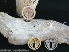 LARGE COIN/MONEDA. ANGEL WINGS FOR GENUINE MI MILANO NECKLACE/CARRIER/LOCKET (2)