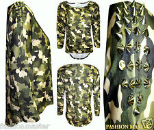 WOMENS NEW LADIES SPIKE STUDDED CAMOUFLAGE DIP HEM PLUS SIZE BAGGY SHIRT TOP TEE