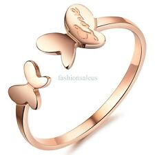 "1.6mm ""Love"" Stainless Steel Butterfly Open Ring Womens Engagement Wedding Band"