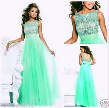 Long Green Prom Dresses High Collar Beaded Party/Evening/Formal Gowns Custom