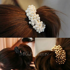 Fashion Women Pearls Beads Hair Band Rope Scrunchie Ponytail Holder