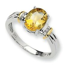 SS 14k Yellow Gold Citrine Diamond Ring/CT Wt-1.82ct/Met Wt-2.21g