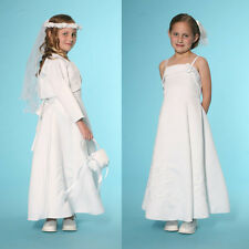 New Girls Satin White Communion Wedding Flowergirl Dress and Bolero Size 3M-16