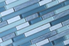Anatolia Bliss Waterfall Glass and Stone Random Strip Mosaic Tiles-Backsplash