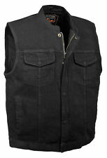 Mens SOA Black Denim Club Cut Vest - Gun Pocket, Snap/ Zip Closure  1 Panel Back