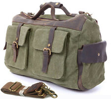 Vintage Men military canvas leather Travel Bag Luggage Tote Duffle Gym Bag Large
