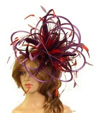 Purple & Red Wedding Feather Fascinator Hat  Choose any colour Satin & Feather