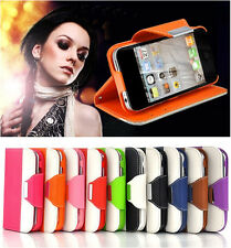 PU Leather Luxury Wallet Card Holder Flip Case Cover for Samsung iPhone 4 5 S G