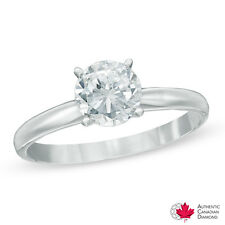 1.00 CT. Certified Canadian Diamond Solitaire Engagement Ring in 14K White #Zwd