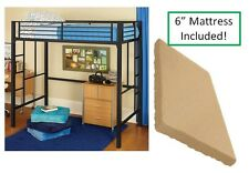 Twin Size Mattress and Metal Loft Bunk Bed Boys Girls Teen Dorm College Bedroom