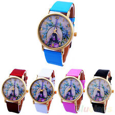 Women's Geneva Rose Flower Eiffel Tower Faux Leather Analog Quartz Wrist Watch