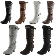 Women Round Toe Kitten Heel Mid Calf Slouch Ankle Strap Mid Knee High Boots