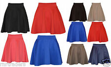 Skater Belted Stretch Waist Plain Flippy Flared Short Skirt Womens, Ladies-pnt