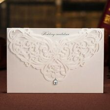 White Paper Cutting Rhinestone Wedding Invitations Cards with Envelopes, Seals.