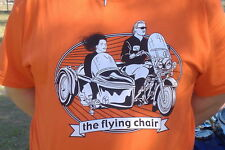 "Sidecar T-shirt ""the flying chair"" XL,L, Motorcycle, Orange, Tan, Light Blue"