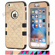 Heavy Duty Impact Rubber Bling Diamond Hard Matte PC Combo Case for iPhone 4 4S