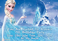 FROZEN DISNEY  Personalised Birthday Party Invitations A6 + envelopes d7 GIRLS