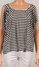 American Eagle Outfitters AEO Striped Open Shoulder Tee Womens Black Shirt NWT
