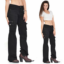 New Ladies Womens Black Wide Loose Combat Trousers Cargo Jeans Boyfriend Pants
