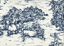 French Country Toile Nautical Blue Small Neck Roll Decorative Pillow Cotton
