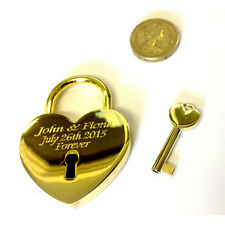 Wedding/Event - Brass Gold Locked In Love Padlock Lock With Key & Free UK P&P