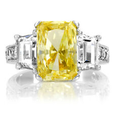 4 Carat Yellow Canary CZ 3 Ston EMERALD Anniversary Ring Sterling Silver 5 6 7 9