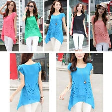 Womens Ladies Casual Short Sleeve Chiffon T Shirt Asymmetric Tops Blouse