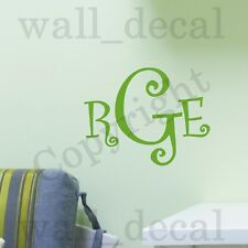 Curly Letters Monogram Personalized Wall Decal Vinyl Sticker Quote Initials