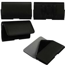 "Black PU Textured Horizontal Pouch Large Holster Clip for 5.5"" - 6"" Smart Phone"