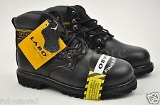 LABO Men's Black Work & Safety Genuine Leather Steel Toe Boots Wide(E, W) 512S